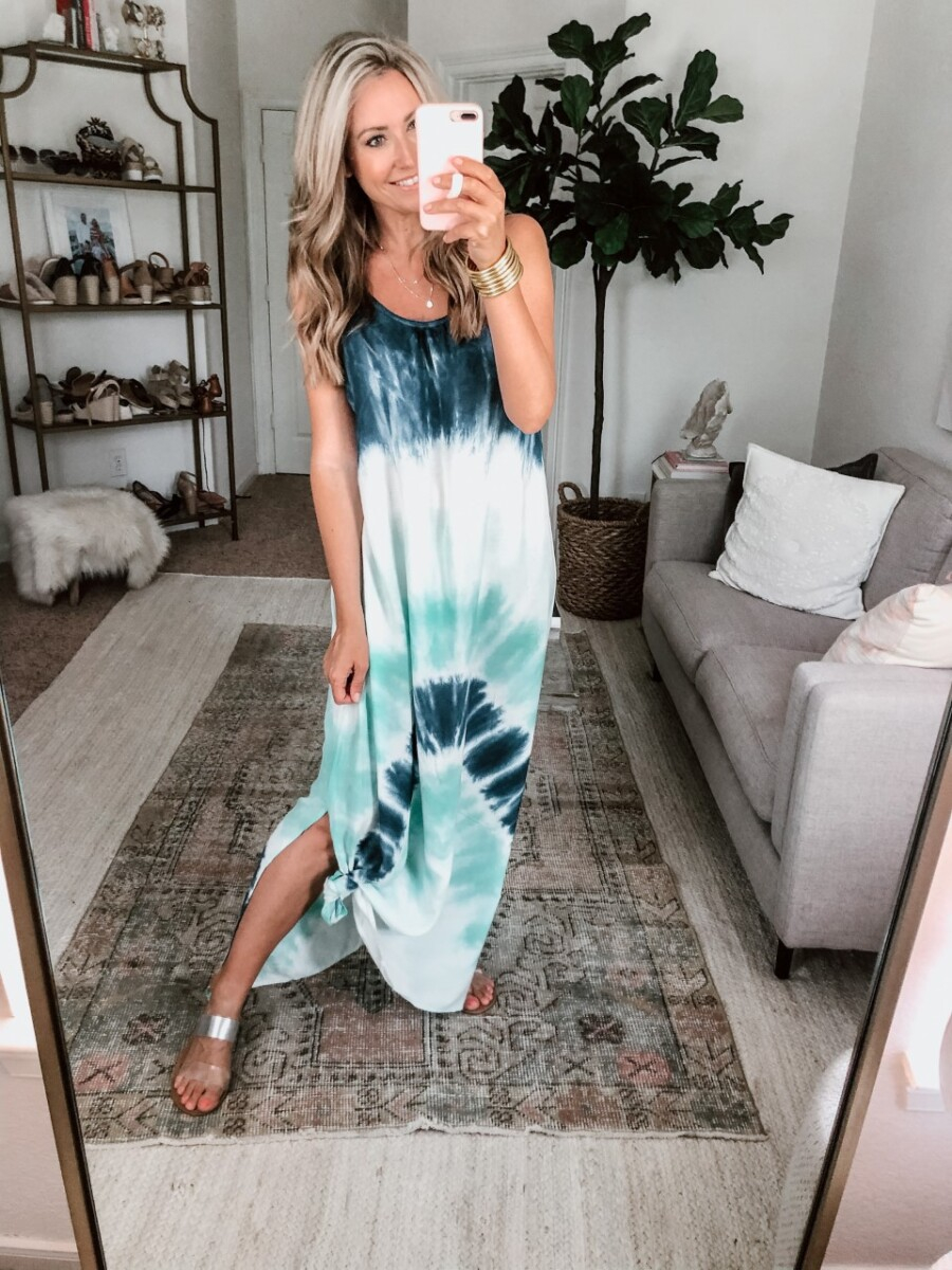 tie dye maxi dress | Amazon Spring Try On by popular Houston fashion blog, Haute and Humid: image of a woman wearing a tie dye maxi, gold bangles, bandeau bra, sandals, and necklace.