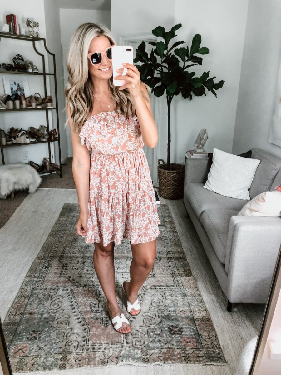 floral beach dress | Amazon Spring Try On by popular Houston fashion blog, Cute and Little: image of a woman wearing a Amazon BerryGo Women's Boho Floral Ruffle Dress, Amazon zeroUV - Retro Oversized Square Sunglasses, and Amazon Steven by Steve Madden Womens Steven Open Toe Casual Slide Sandals.