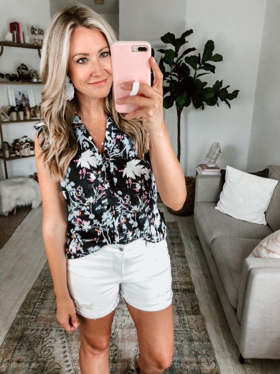 summer top   Amazon Spring Try On by popular Houston fashion blog, Cute and Little: image of a woman wearing a Amazon ZKESS Women Casual Ruffle Sleeveless V Neck Floral Printed Button Down Tank Top, Walmart Sofia Jeans by Sofia Vergara, and Amazon Jstyle 2Pairs Statement Drop Earrings.