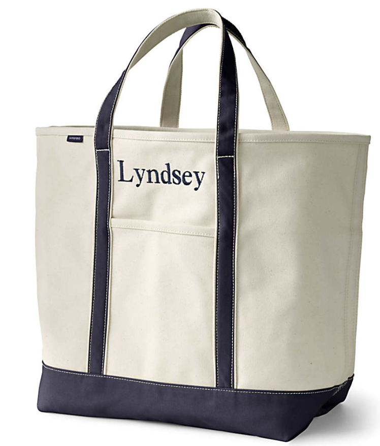 beach bag | Galveston Travel Guide by popular Houston travel blog, Haute and Humid: image of a Lands' End Medium Natural Open Top Canvas Tote Bag.