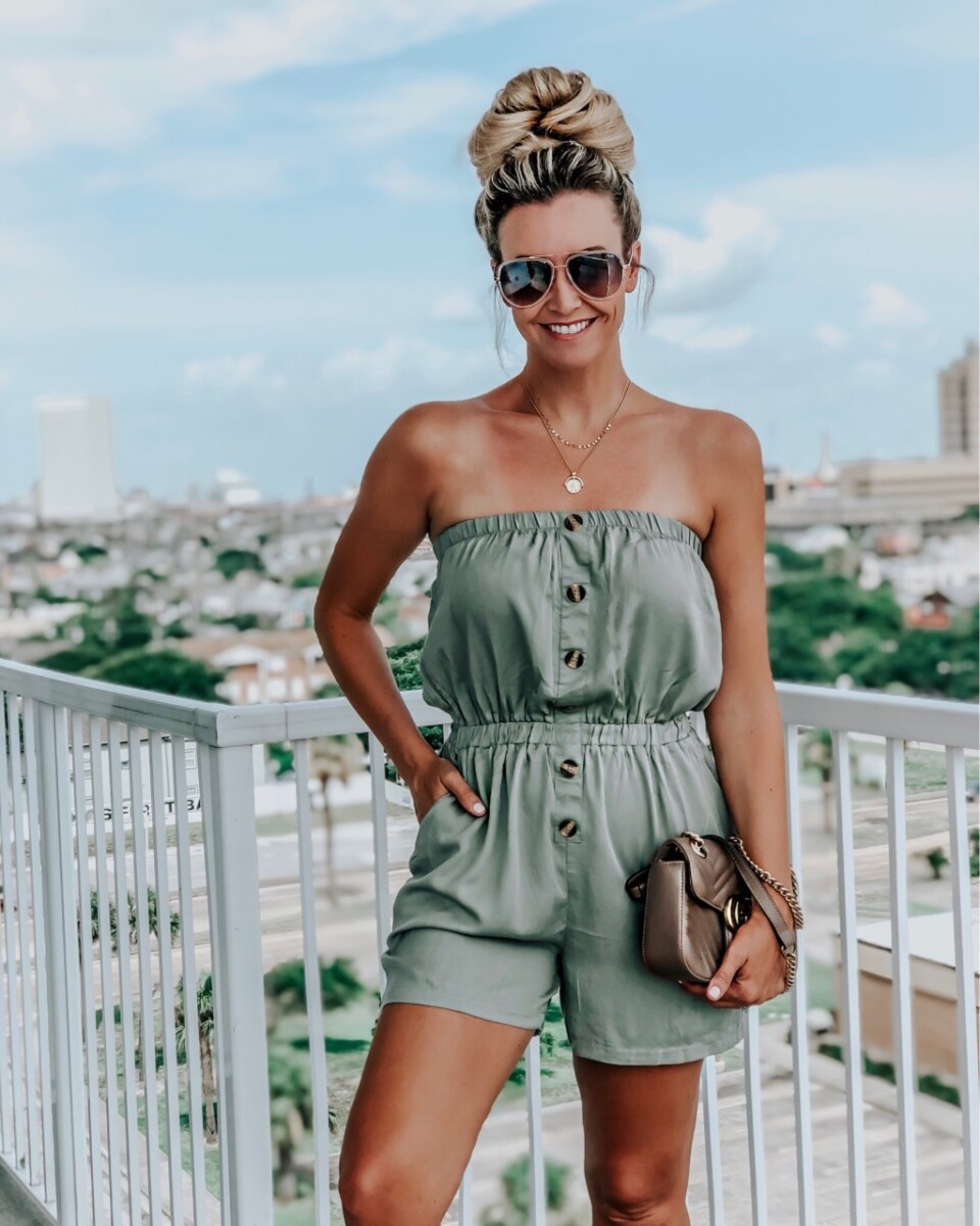 galveston rentals | Galveston Travel Guide by popular Houston travel blog, Haute and Humid: image of a woman wearing a Amazon ZESICA Women's Summer Off Shoulder Strapless Solid Color Button Down Elastic Waist Short Jumpsuit Romper, Amazon LILIE&WHITE Vintage Coin Pendant Necklace Gold-Layered Choker Necklace for Women, sunglasses, and holding a Nordstrom Medium Matelassé Leather Shoulder Bag GUCCI.