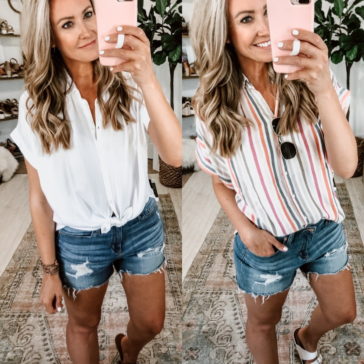 madewell dupe | Summer Style by popular Houston fashion blog, Haute and Humid: image of a woman sitting outside and wearing a Walmart Time and Tru Women's Button Front Shirt with Rolled Sleeves and cut off denim shorts.