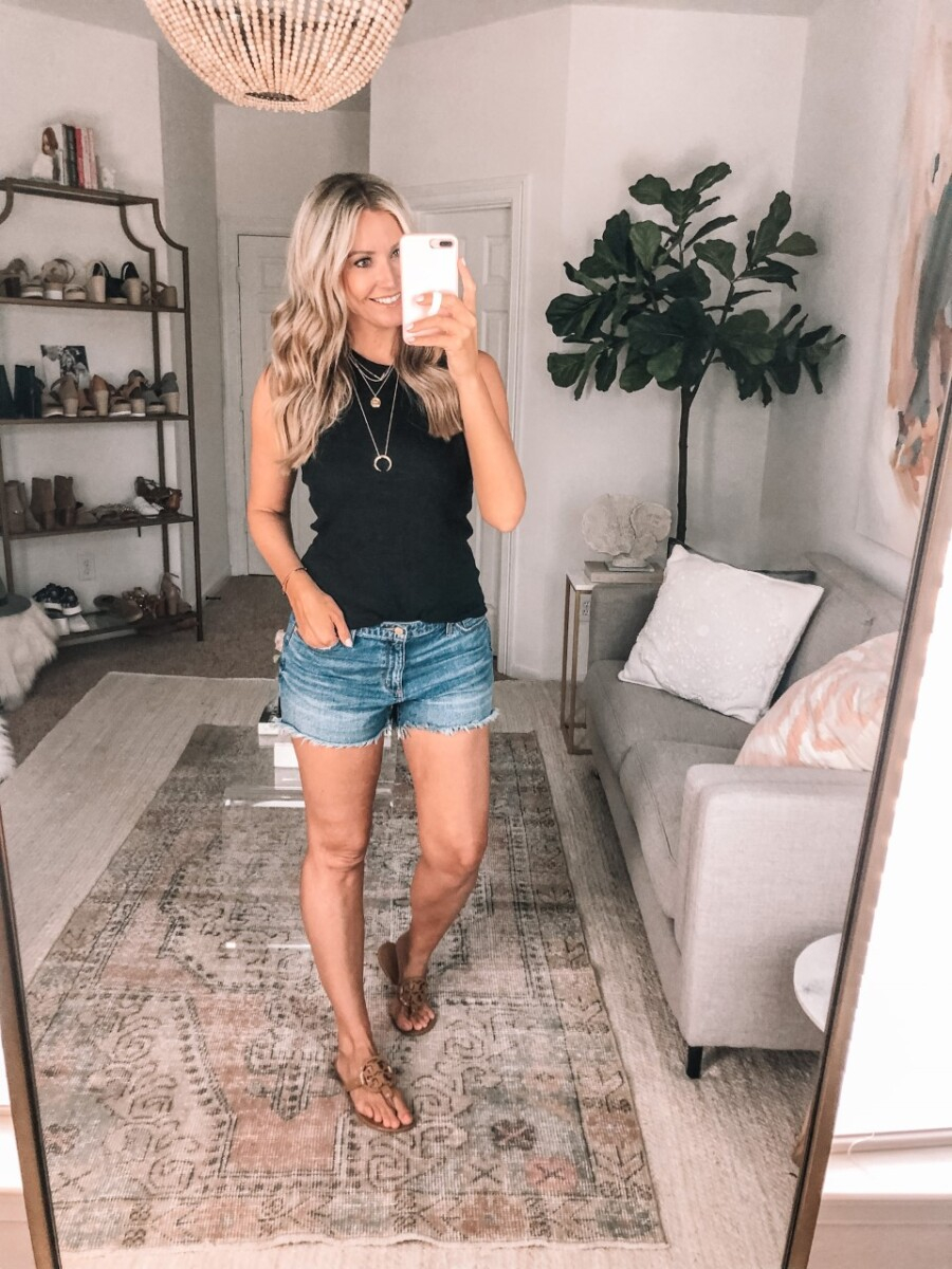 fall transition outfit | Summer to Fall by popular Houston fashion blog, Haute and Humid: image of a woman wearing a Madewell Westville Tank Top, Target Universal Thread Women's High-Rise Jean Shorts, and Nordstrom Tory Burch Miller Flip Flop TORY BURCH.