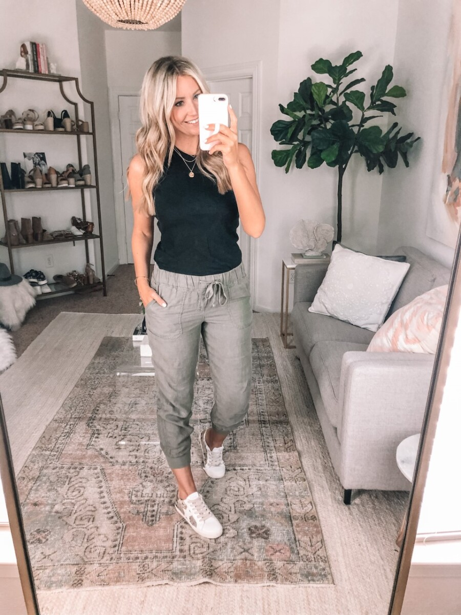 joggers | Summer to Fall by popular Houston fashion blog, Haute and Humid: image of a woman wearing a Madewell Westville Tank Top, Linen Jogger Pants CASLON®, Steve Madden REZZA WHITE sneakers, and Soma Geo Lace Racerback Full Coverage Bra.