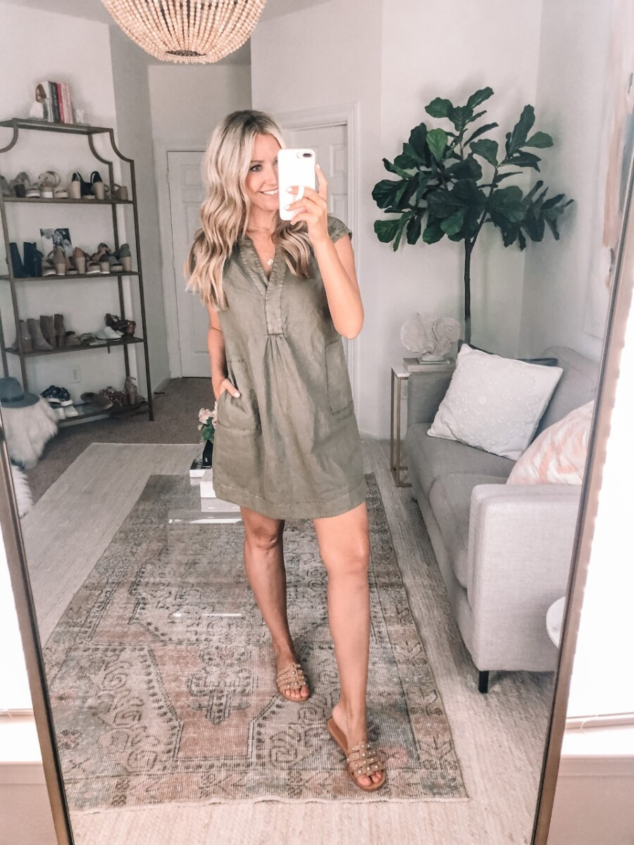 fall dress | Summer to Fall by popular Houston fashion blog, Haute and Humid: image of a woman wearing a Anthropologie Kimber Tunic Dress, and Pava Slide Sandal MARC FISHER LTD.