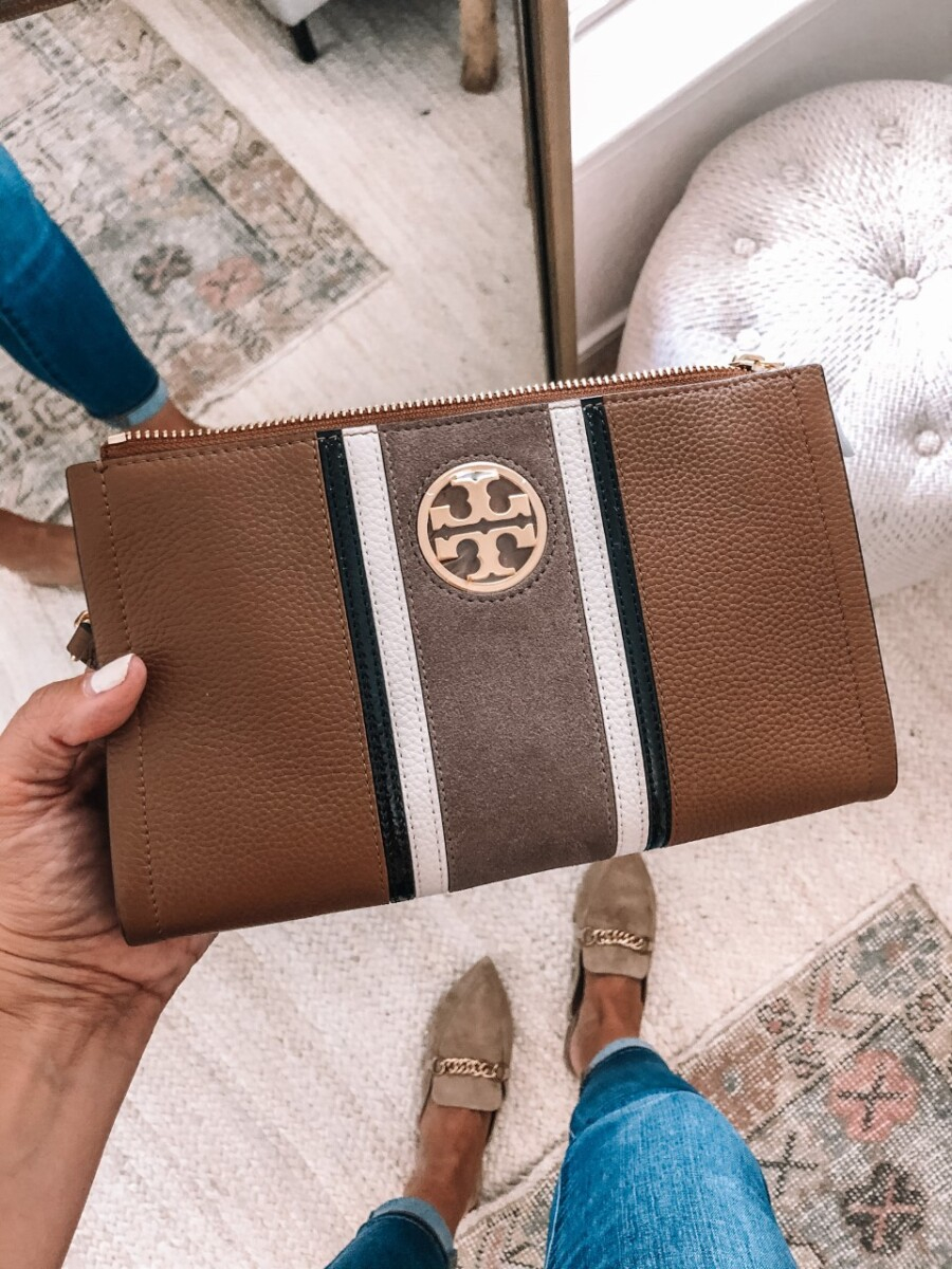 tory burch crossbody | Nordstrom Anniversary Sale by popular Houston fashion blog, Haute and Humid: image of a woman Carson Stripe Leather Crossbody Bag TORY BURCH.