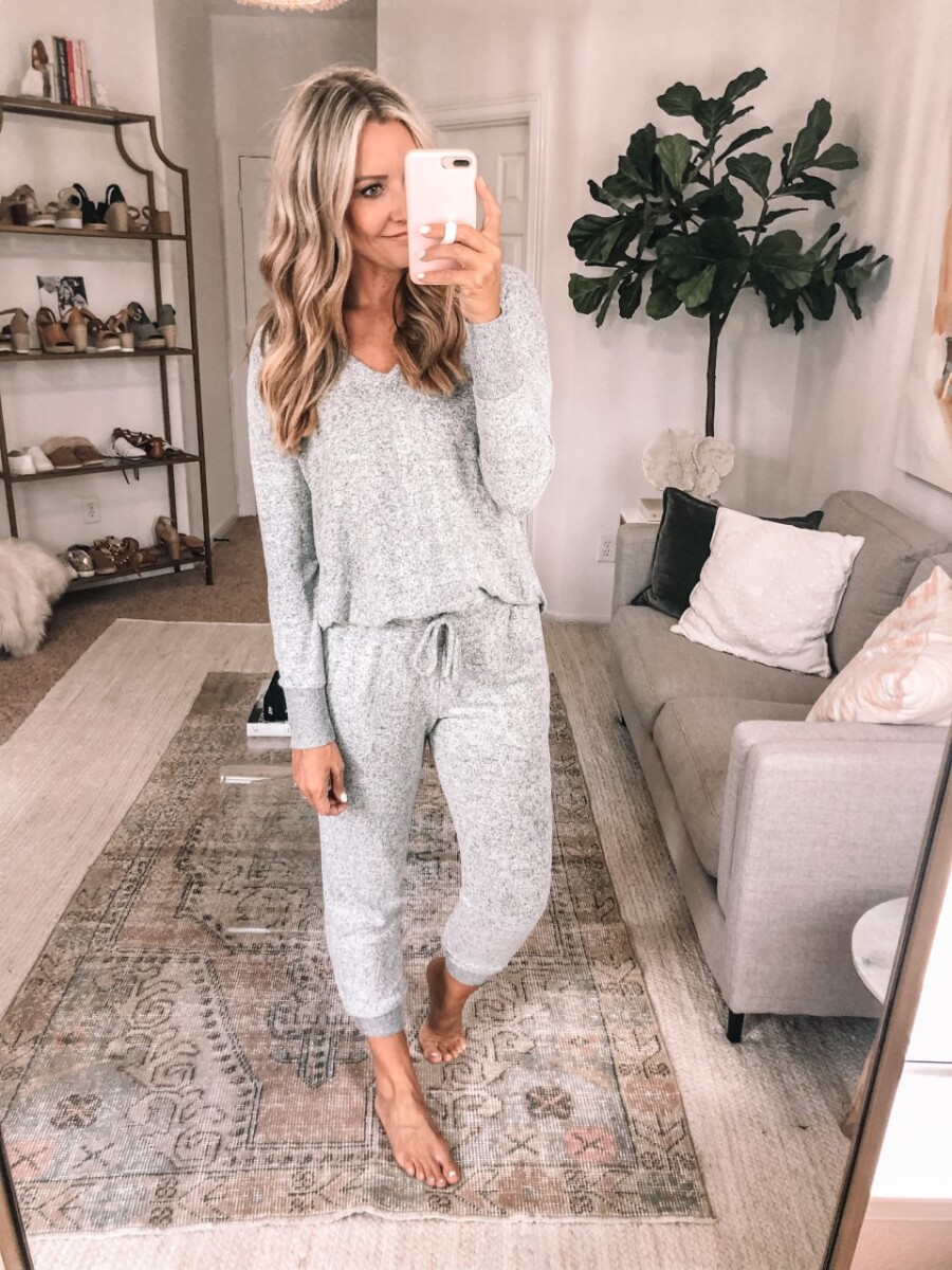 lounge set | Nordstrom Anniversary Sale by popular Houston fashion blog, Haute and Humid: image of a woman wearing a Nordstrom Cozy V-Neck Tunic GIBSON and Nordstrom x Living in Yellow Skye Jogger Pants GIBSON.