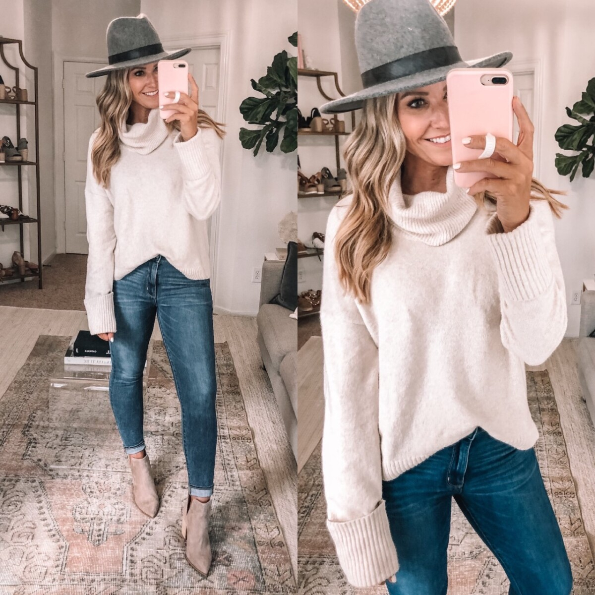 fall sweater | Nordstrom Anniversary Sale by popular Houston fashion blog, Haute and Humid: image of a woman wearing a Nordstrom Cowl Neck Sweater CHELSEA28, Nordstrom Kaylah Pointed Toe Bootie STEVE MADDEN, AE Ne(x)t Level High-Waisted Jegging and Nordstrom Brixton hat.