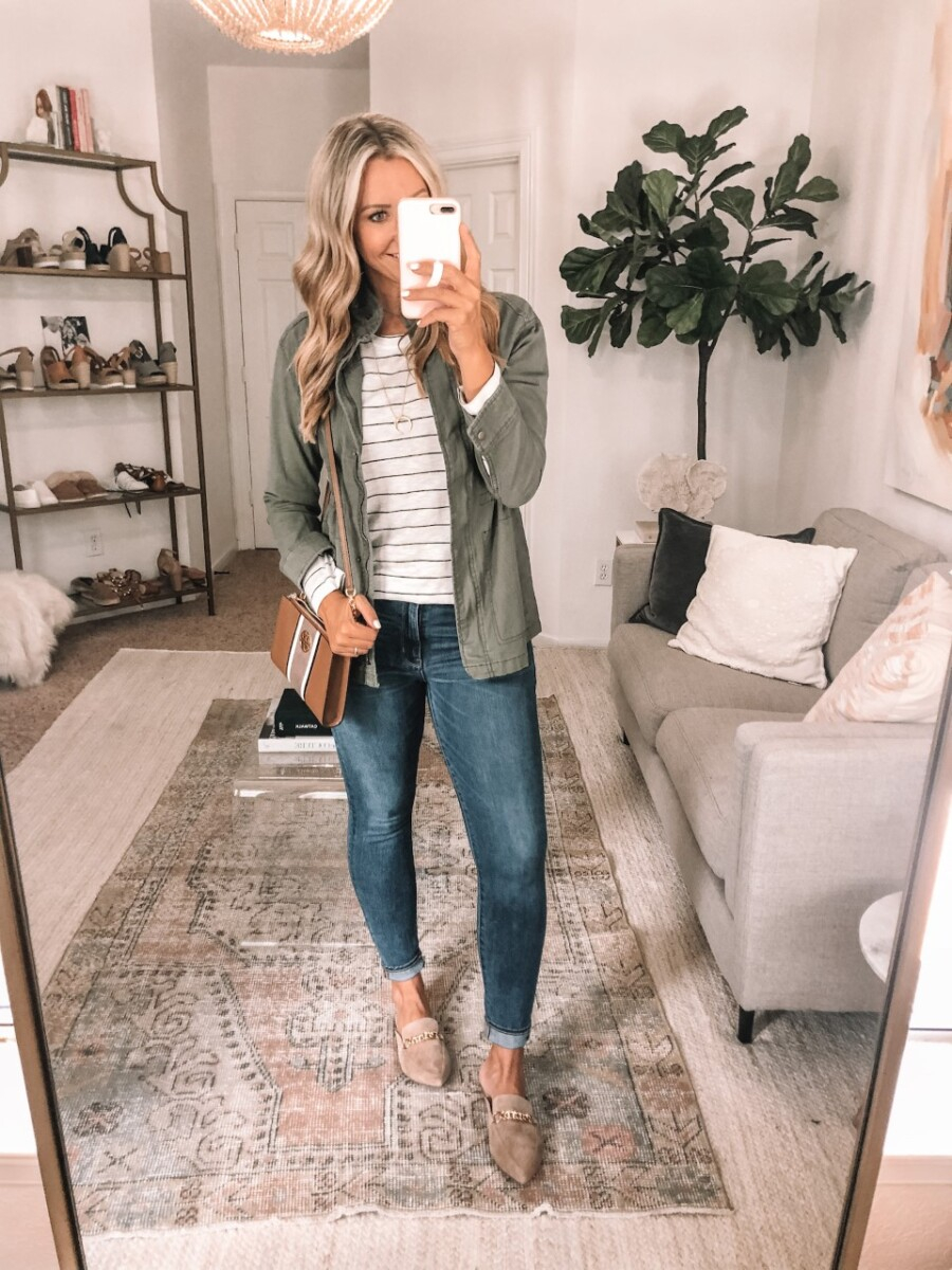 casual fall outfit | Nordstrom Anniversary Sale by popular Houston fashion blog, Haute and Humid: image of a woman wearing a Nordstrom Long Sleeve Crewneck T-Shirt CASLON, Nordstrom Steve Madden Forever Chain Pointed Toe Mule, Old Navy Scout Utility Jacket for Women, and carrying a Nordstrom Tory Burch Carson Stripe Leather Crossbody Bag.