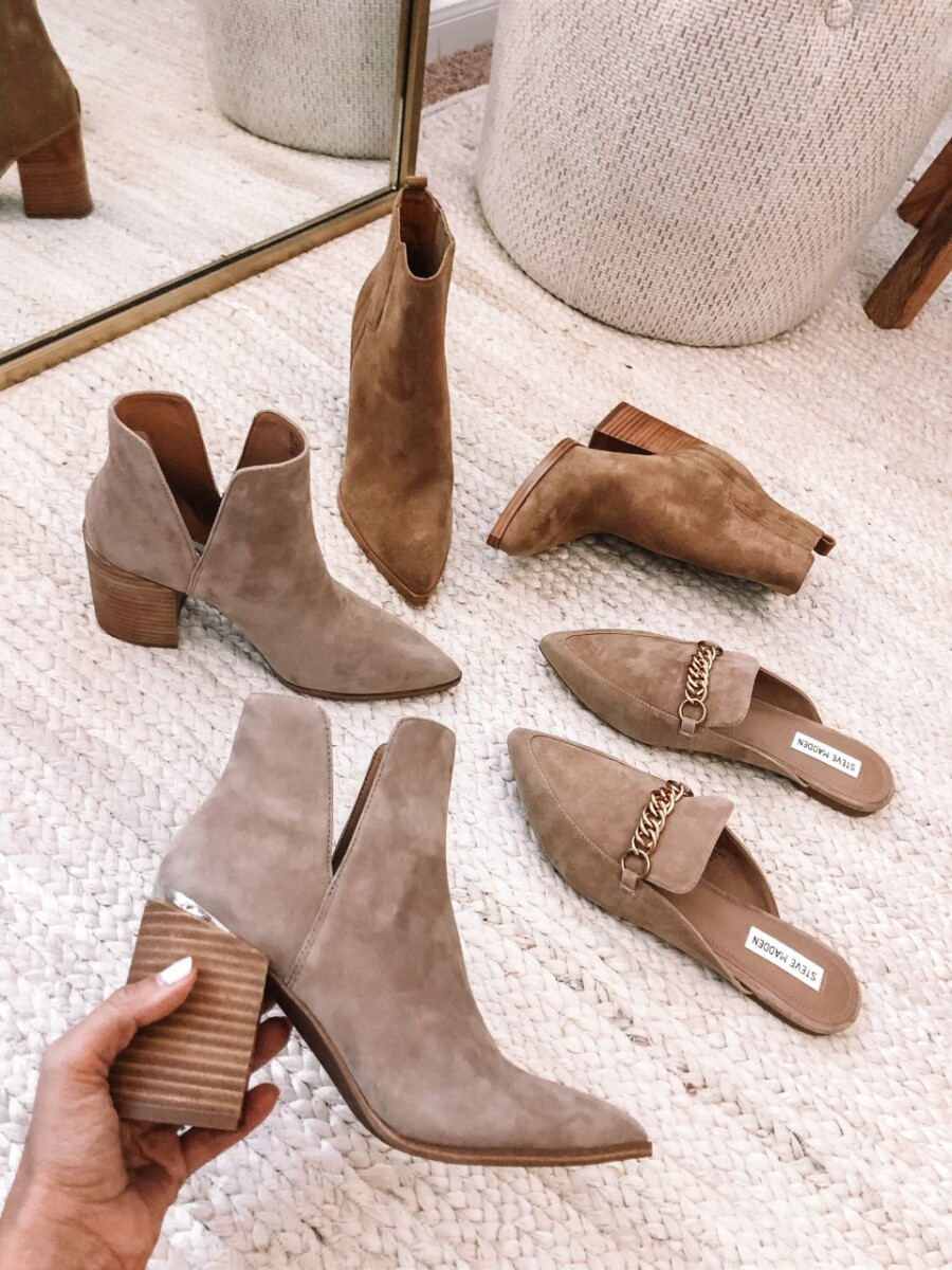 nordstrom sale booties | Nordstrom Anniversary Sale by popular Houston fashion blog, Haute and Humid: image of Steve Madden mules and suede ankle boots.