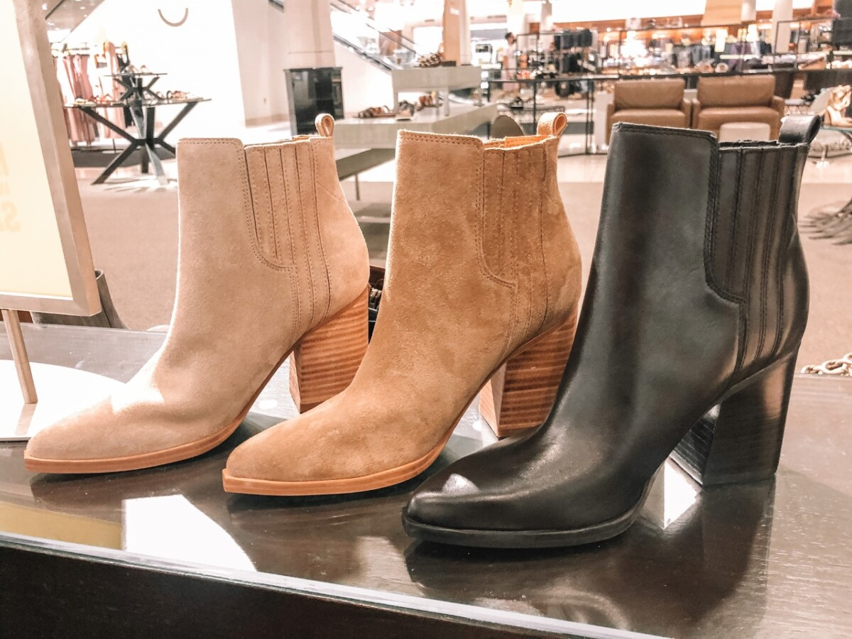 fall booties | Nordstrom Anniversary Sale by popular Houston fashion blog, Haute and Humid: image of suede and leather ankle boots.
