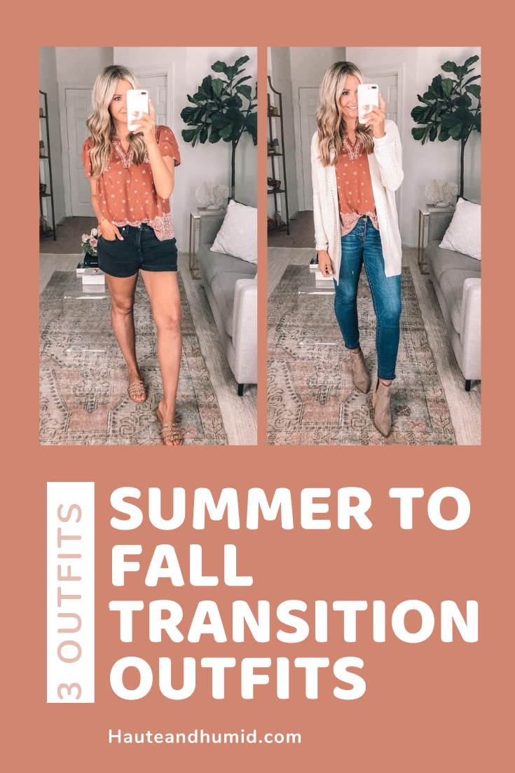 fall transition outfit | Summer to Fall by popular Houston fashion blog, Haute and Humid: collage image of a woman wearing a Summer to Fall transition outfit.
