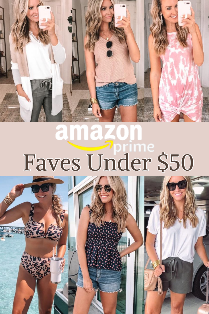 amazon faves under $50 | Best Amazon Products by popular Houston life and style blog: Pinterest image of a woman wearing a Amazon lace cami, Amazon knit tank, Amazon high waist leopard print bikini, Amazon peplum top, and Amazon cotton drawstring shorts.
