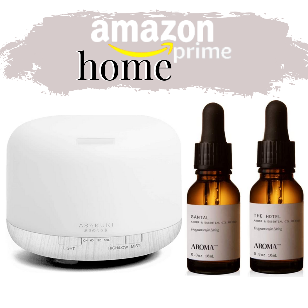 essential oils diffuser | Best Amazon Products by popular Houston life and style blog: Pinterest image of Asakuki diffuser and Aroma Santal and The Hotel oils.