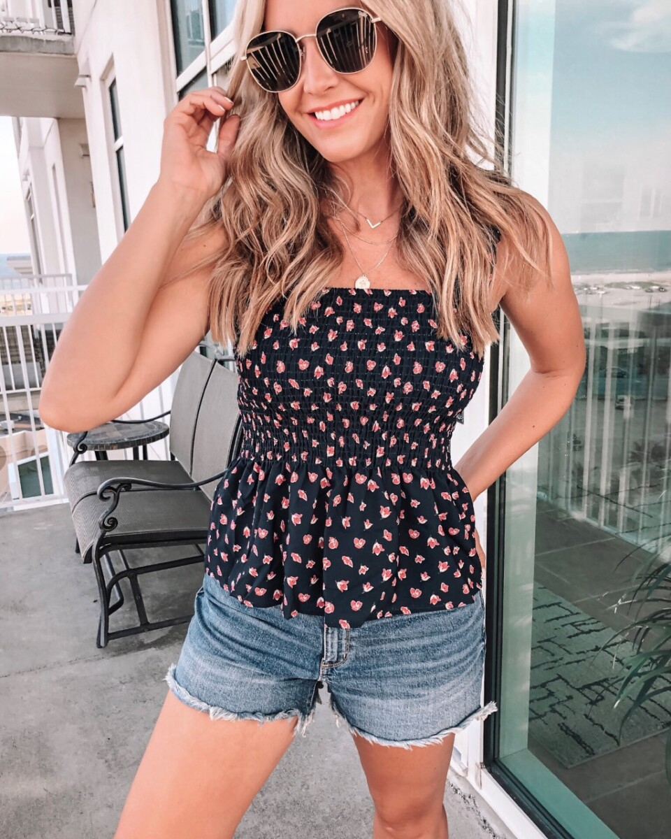 peplum top | Best Amazon Products by popular Houston life and style blog: image of a woman wearing a Amazon peplum top.