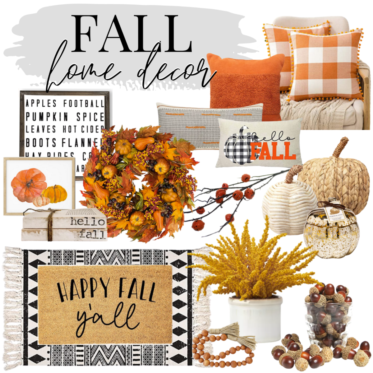 bargain fall decor | Fall Decor by popular Houston life and style blog, Haute and Humid: collage image of Amazon MIULEE Set of 2 Retro Farmhouse Buffalo Plaid Check Pillow Cases, Amazon PSDWETS Autumn Decorations Pumpkin Pillow Covers, Etsy Trellis Grey (Dark) Wooden Bead Garland, faux pumpkins, wooden bead tassel garland, black and what rug, Happy Fall Y'all outdoor mat, pumpkin watercolor painting, and faux acorn decor.