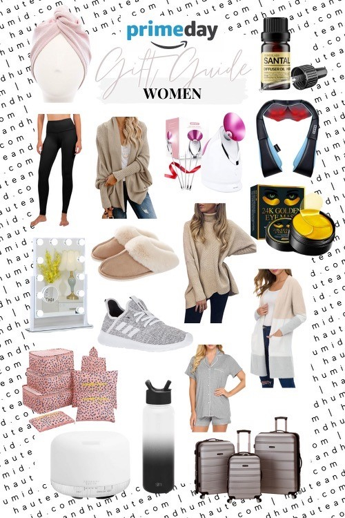 gift guide for women | Best Amazon Prime by popular Houston life and style blog, Haute and Humid: collage image of Amazon Adidas Cloud Foam Sneakers, Luggage Set, Packing Cubes, Essential Oils Diffuser, Santal Diffusing Oil, Pajama Set, Striped Cardigan, Hair Towel, Insulated Water Bottle, Leggings, Facial Steamer, Eye Patches, Back Massage, Light Up Makeup Mirror and Cocoon Cardigan.