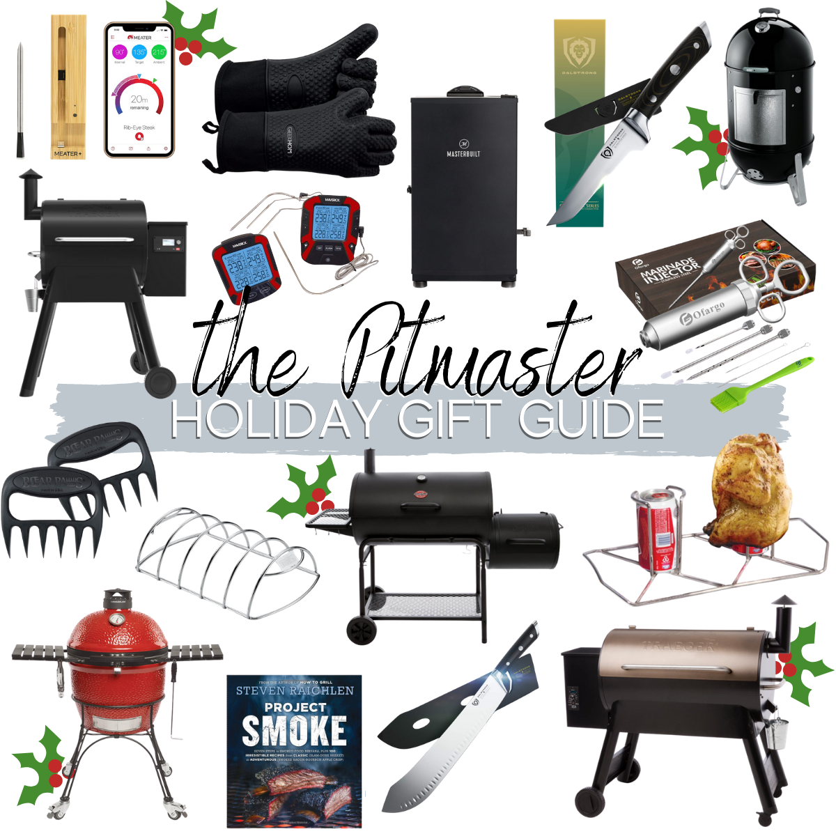 mens gift ideas smoking, outdoors |Christmas Gift Ideas by popular Houston life and style blog, Haute and Humid: collage image of BBQ gift ideas.