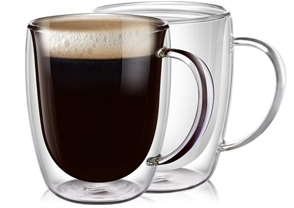 glass coffee mugs |Amazon Bestsellers by popular Houston life and style blog, Haute and Humid: image of clear glass coffee mugs.