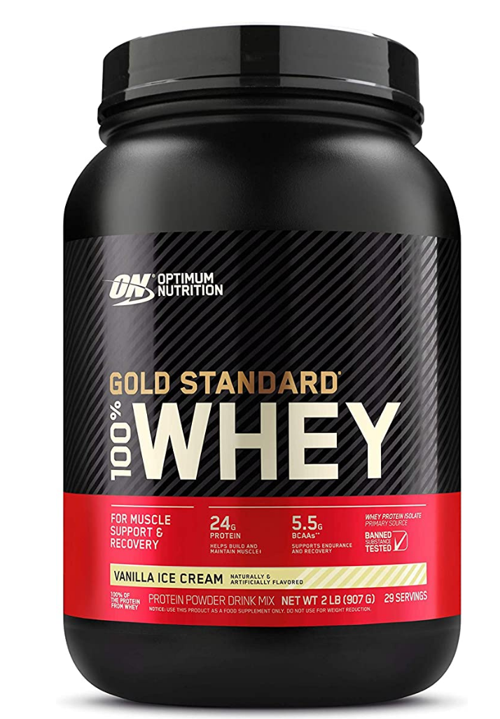 protein powder |Amazon Bestsellers by popular Houston life and style blog, Haute and Humid: image of a Optimum Nutrition Gold Standard Whey protein powder.