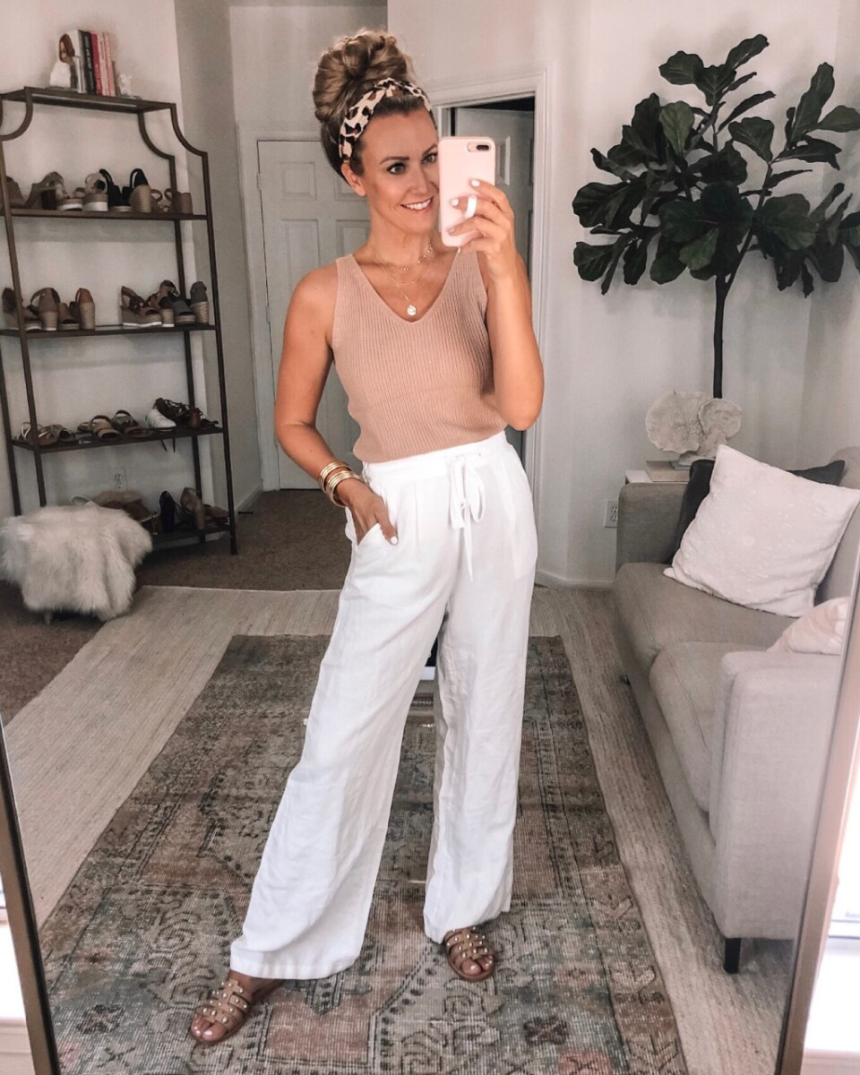 amazon tank top |Amazon Bestsellers by popular Houston life and style blog, Haute and Humid: image of a woman wearing a knit tank and white linen pants.