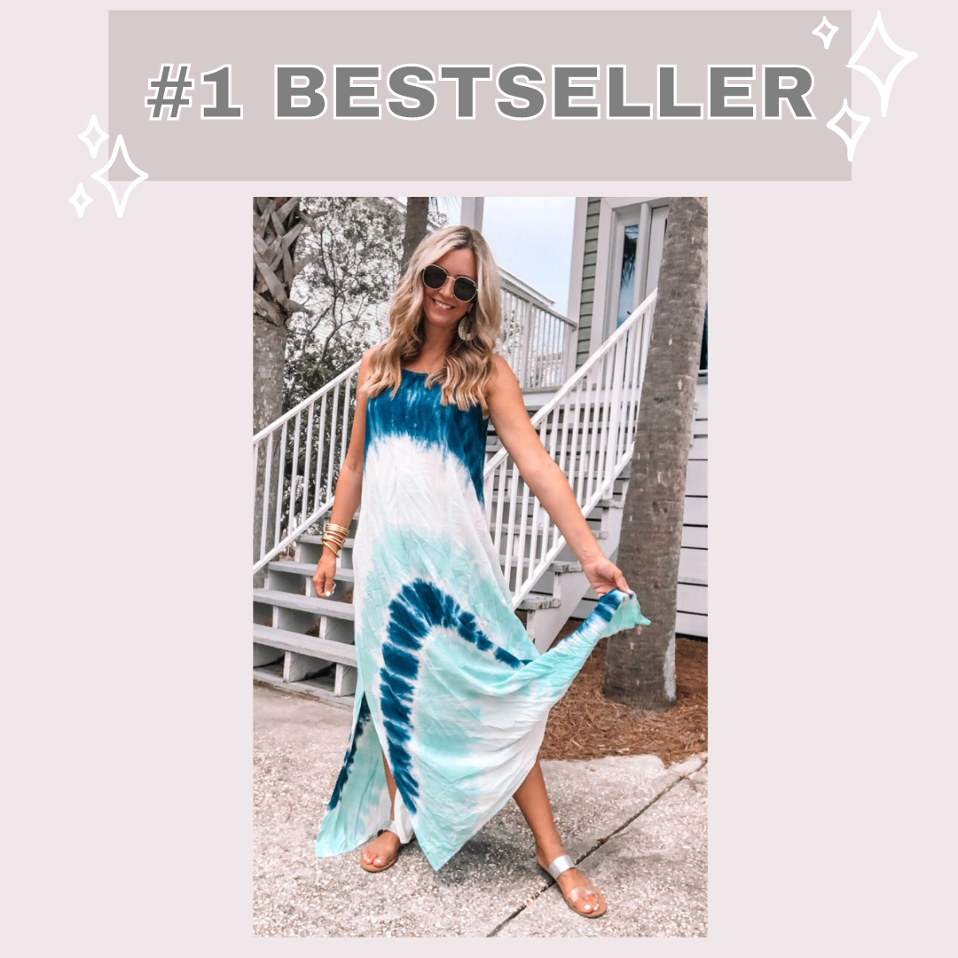 amazon bestseller | Amazon Bestsellers by popular Houston life and style blog, Haute and Humid: image of a woman wearing a blue tie dye maxi dress.