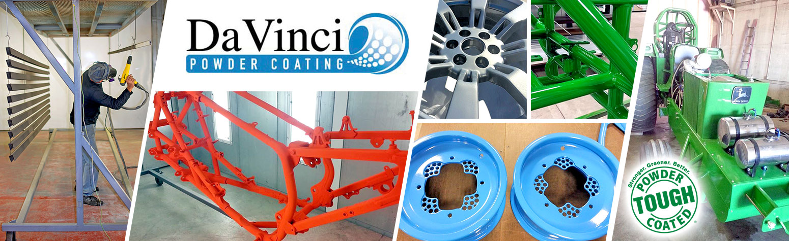 image shows Davinci Powder Coating banner with samples of powder coated industrial products