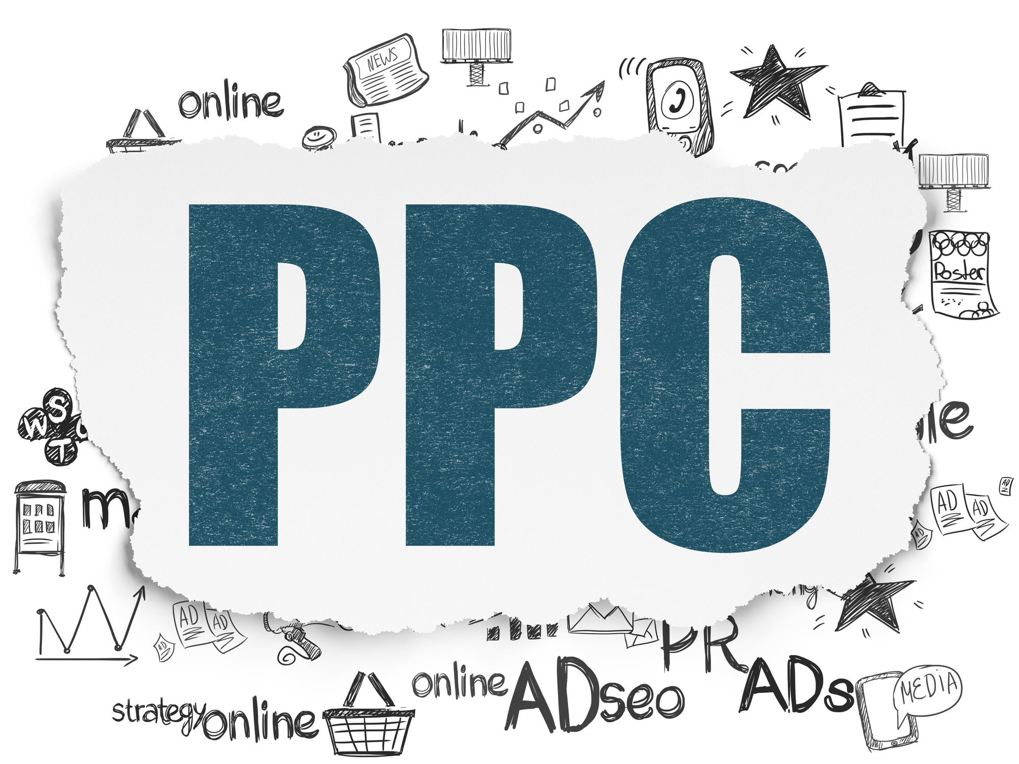 Marketing concept: PPC on Torn Paper background