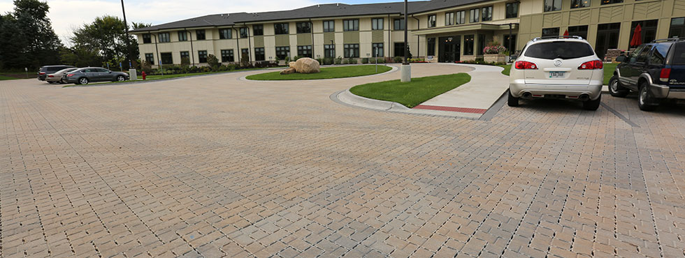 Permeable pavers drive and parking at The Views