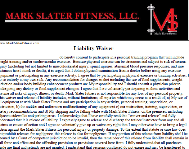 Liabillity Waiver