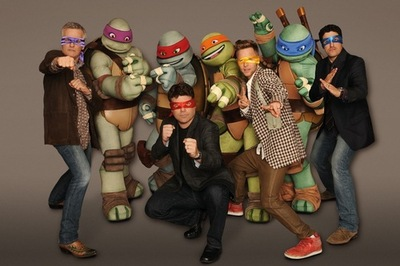 Pictured:  Rob Paulsen as Donatello  (purple mask) ,J Sean Astin as Raphael (red mask), Greg Cipes as Michelangelo  (orange mask) and ason Biggs as Leonardo (blue mask), in TEENAGE MUTANT NINJA TURTLES on Nickelodeon.  Photo:  Frank Micelota/Nickelodeon. ©2012 Viacom, International, Inc.  All Rights Reserved