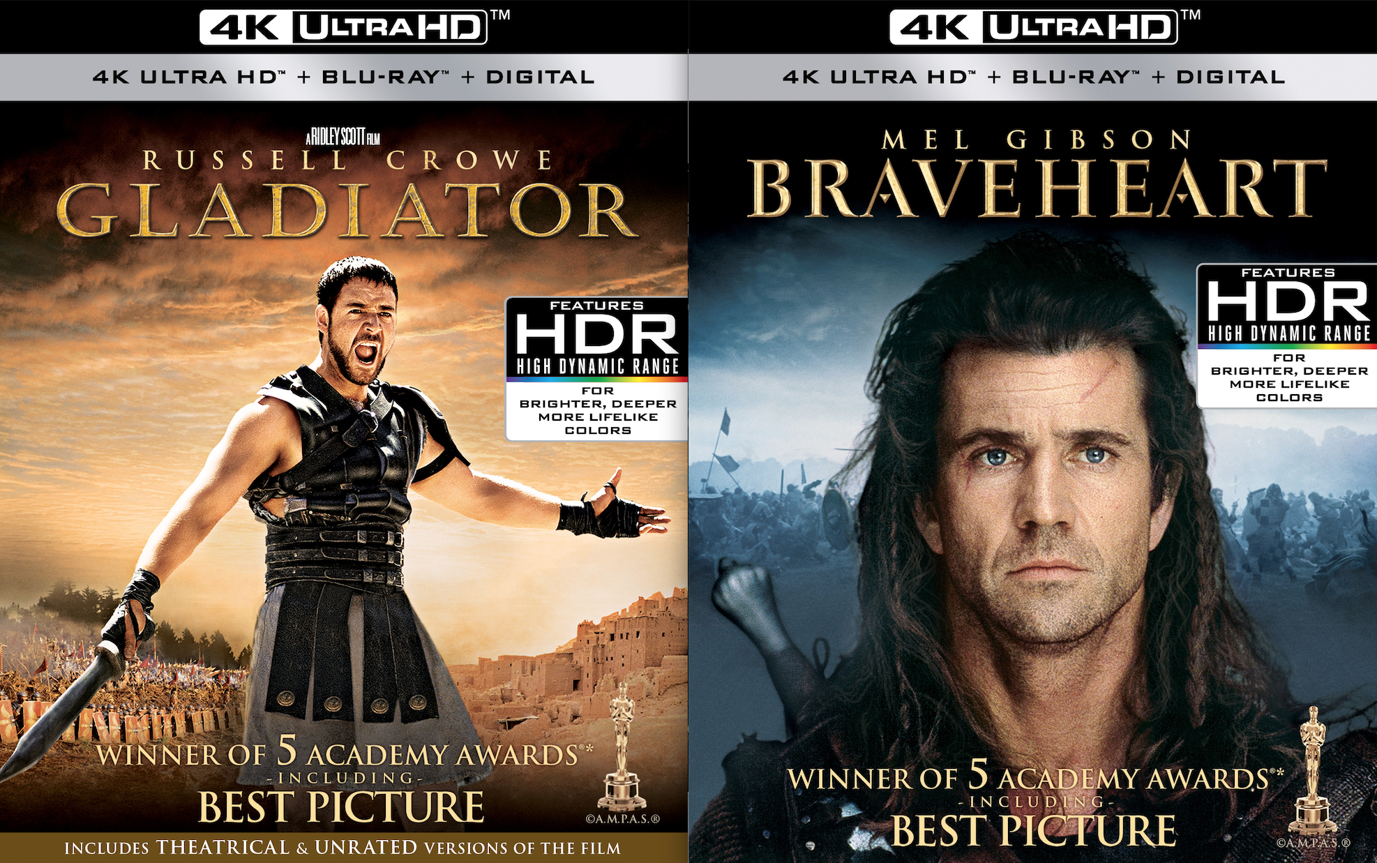 Beware The Ides Of March! Braveheart & Gladiator Hit 4K Ultra HD & Blu-Ray March 15th!