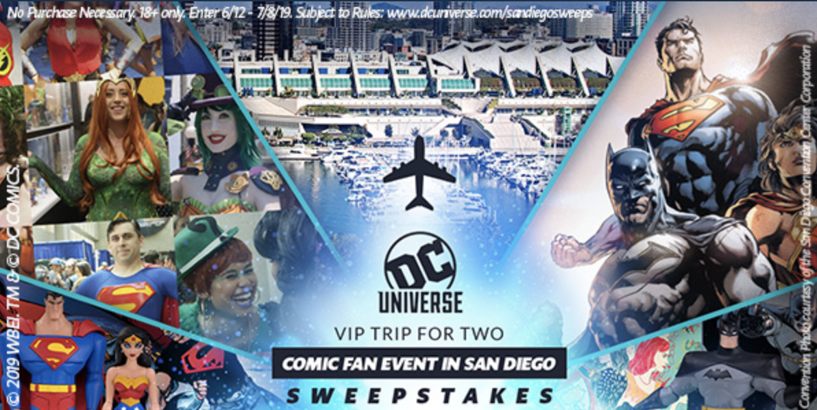 DC Universe VIP Trip for Two Comic Fan Event in SDCC 2019 Sweepstakes