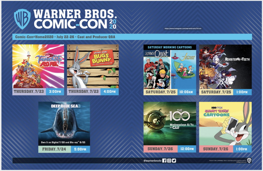 Warner Bros Comic-con at home schedule