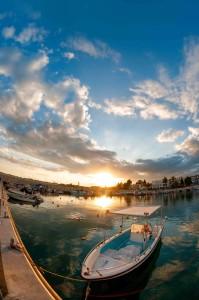 Fishing boat at sunset