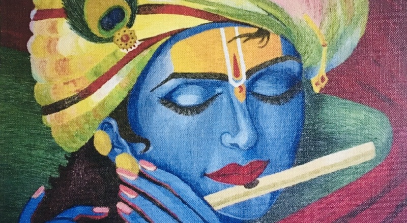The Beauty of Acrylic Paints on Lord Krishna's Painting by Needle Texture by WeGo Art Gallery