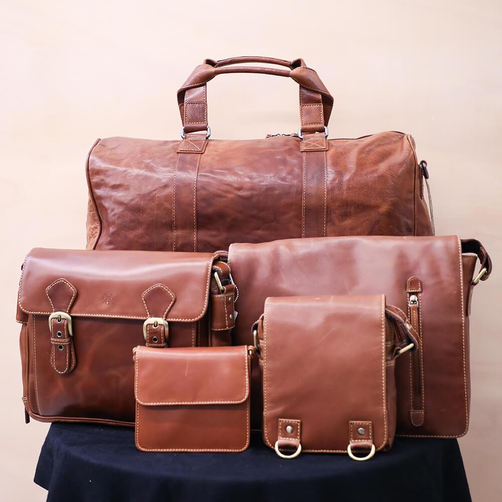 JLP Melbourne Durable Leather Bag (Cognac colour)