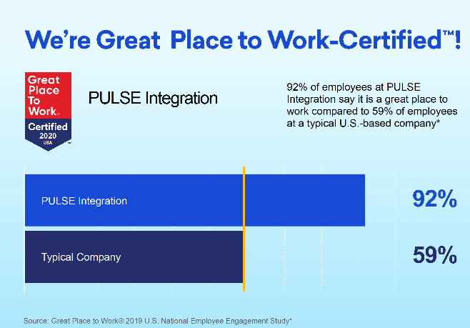 """PULSE Integration Earns """"Great Place To Work"""" Designation"""