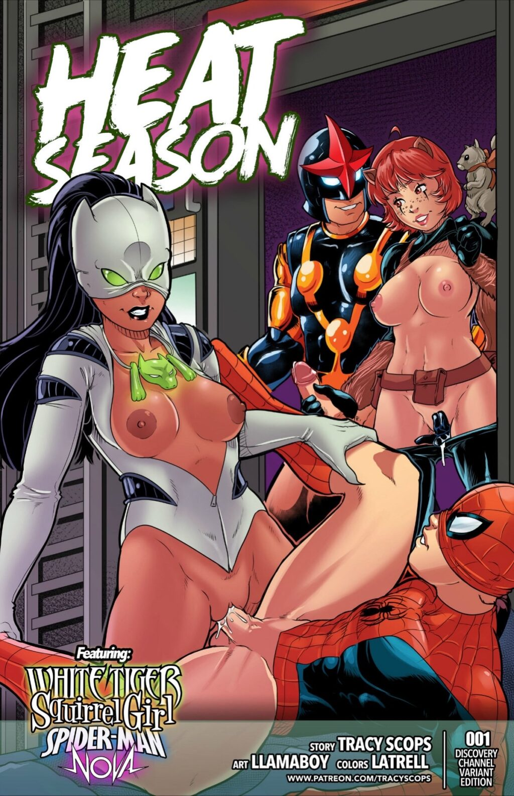 Marvel-porn-comics-Heat-Season-squirrel-Girl-White-Tiger-Spiderman-Yoga-Pants-Latex-suit-Tracy-Scops-superhero-FemDom-domination-bisexual-group-sex-nova-Corp-creampie