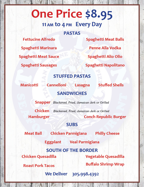 Lunch specials 11 to 4