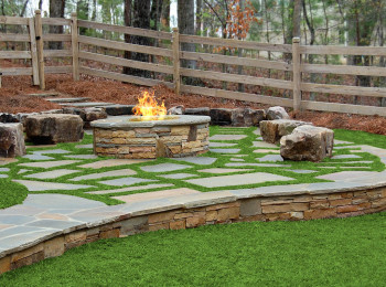 Firepit with Boulder Seating in Grass - Canton, Georgia