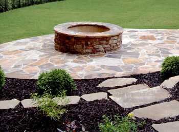 Stone Fire Pit in Patio with Stepping Stones - Canton, Georgia