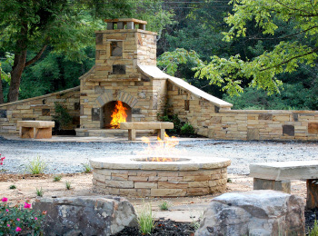 Fireplace, Firepit, Boulders and Stone Benches - Holly Springs, Ga