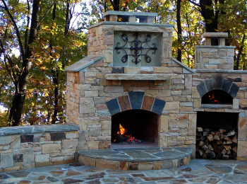 Stone Outdoor Pizza Oven, Fireplace and Patio - Canton, Georgia