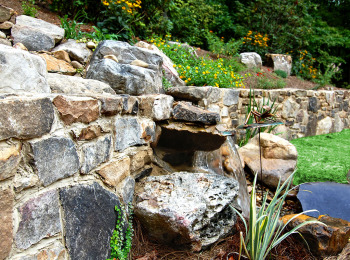 Stone Walls, Waterfall & Rock Garden