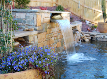 Container Gardens and Stone Waterfalls