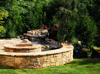 Waterfall, Stone Fire Pit & Walls