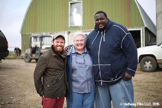 Jonny and Quinton Aaron with local Montfort businesswoman Marva Becker © Halfway Film LLC, 2015