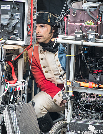 Aidan behind the scenes on the set of Poldark. Photo: Andy Rose.