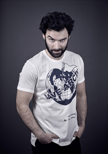 Aidan Turner models a Vivienne Westwood-designed t-shirt for the Save the Arctic collection, shot by celebrity photographer Andy Gotts MBE.